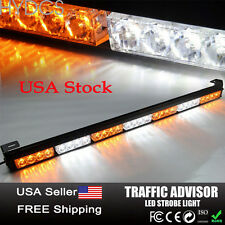 28 LED Emergency Warning Traffic Advisor Flash Strobe Light Bar Amber & White