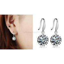 Vintage 925 Sterling Silver Women Elegant Crystal Rhinestone Ear Stud Earrings