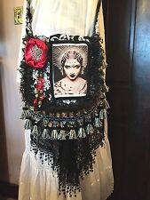 gypsy goth black red art nouveau deco steampunk woman spike crown festival purse