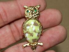 VTG Goldtone Rhinestone Yellow & Gold Foil Lucite Jelly Belly Owl Pin Brooch 2""