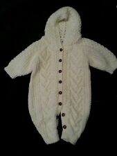 Rare First Impressions HAND KNIT White Classic Snowsuit 3-6 Mos Winter One Piece