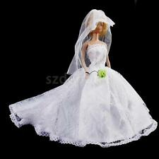 White Wedding Gown Lace Embroidery Dress Veil Outfit Clothes for Barbie Doll