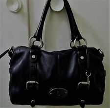 FOSSIL Black Leather MADDOX Satchel Tote Bag Purse Great Condition