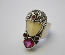 "Vintage SAJEN Bone Moon Face Goddess Sterling Silver Ring 1.5"" wide"