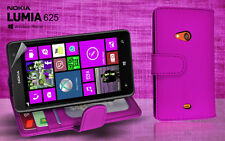 Purple Side ID Wallet Leather Case Cover for Nokia Lumia 625 + Screen Guard