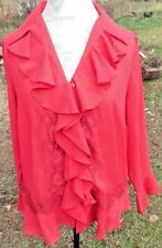 Denim 24/7 size 12W sheer red blouse lace trim buttons ruffles polyester