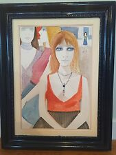 Authentic Signed Charles Levier Framed Watercolor Painting of Girl w/ Necklace