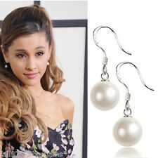 Pair of Pearl Drop Dangle Earrings Ariana Grande Style Droplet Mother Pearl  d2