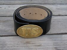 civil war leather belt with brass oval US buckle 50