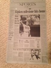 1999 CAL RIPKEN JR. *ONE OF A KIND* SUN NEWSPAPER PRINTING PLATE Ripken 400 HRs