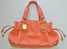 Orange MICHAEL KORS Rehearsal Drawstring Leather Satchel,10x15x4 in, 8 in drop