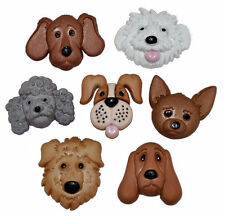JESSE JAMES ~ DRESS IT UP BUTTONS - FUZZY FACES 4825 ~ DOG FACES ~ CRAFT~ SEWING