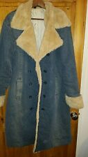 Blanc Noir Denim Faux Fur Lined Size 14 Coat