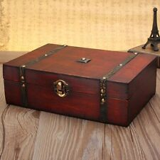 Oversize Vintage Wooden Trinket Treasure Storage Jewelry Case Orgnizer Gift Box