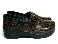 Dansko Brown Tooled Leather Clogs Women's 9.5 10 EUR 40 Professional Shoes