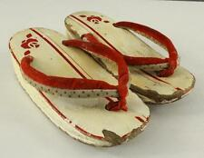 Vintage Costume Artisan Hand Painted Carved Wood White & Red Stripe Thong Clogs