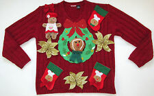Gingerbread Men Ugly Tacky Handmade Unique Contest Christmas Sweater XL