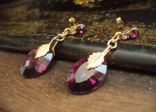 Elegant Vintage Deco Style Amethyst Purple Crystal Drop Pierced Earrings
