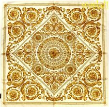 "VERSACE golden Baroque MEDUSA Wreaths Scroll 35""-square Silk scarf NWT Authentic"