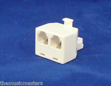 Modular TELEPHONE Line Cable Wall Outlet SPLITTER Double Jack Connector VWLTW