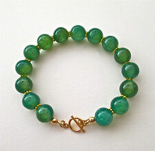 GREEN DRAGON VEINS AGATE & GOLD BEADED BRACELET ~ STUNNING!