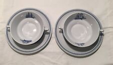 Spode Trade Winds Blue Earthenware - 2 Cream Soups & Stands - Lovely