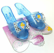 Disney Princess CINDERELLA Girls Dress Up Jelly SHOES Bow & Heart Cameo Blue NEW