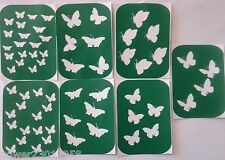 Pack of 7 BUTTERFLIES- 2 Vinyl Tattoo Body Art Stencils Glitter-Airbrush