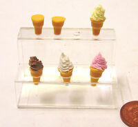 1:12 Scale 4 Cones With Ice Cream & 2 Empty Dolls House Miniature Food Accessory