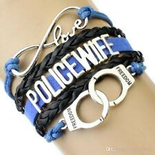 POLICE WIFE INFINITY BRACELET HANDCUFFS LOVE CHARM BLUE WITH BLACK LEATHER #KC25