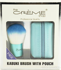 THE CREME SHOP BLUE KABUKI FACE BRUSH WITH POUCH~PROFESSIONAL QUALITY~NEW IN BOX