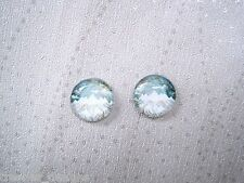 SNOWY MOUNTAIN PEAKS Jade Teal Green White DOMED Glass Stud Earrings SP Gift Bag