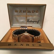 VINTAGE BENRUS FANCY MENS SEA SPORTS WATCH 1940-50's  W/ BOX Elegance Gold