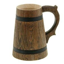 Wooden Tea Cups Wood Mug Handmade Barrel Juice Beer Cup Travel Oak Tinted 0.65L
