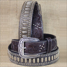 42 INCH M&F WESTERN ARIAT TOOLED CROSS STUDS CONCHO LEATHER BROWN MENS BELT