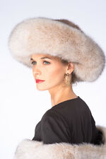Blush Frost Fox and Mink Hat Large Brim Fur Hat for Women