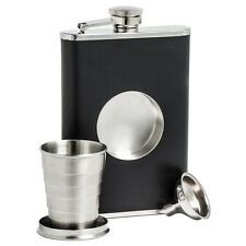 8oz Hip Flask Collapsible SHOT GLASS Stainless Steel Screw Cap Pocket Funnel