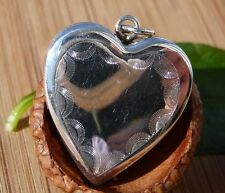 925 STERLING SILVER BEAUTIFUL PUFFED HEART PHOTO LOCKET PENDANT 3/4""