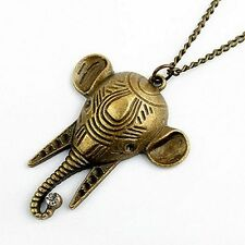 Vintage Art Deco style bronze elephant head necklace