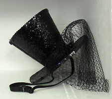 LADIES BLACK GLITTER MINI TOP HAT LEG AVENUE BURLESQUE FANCY DRESS RACES GOTH