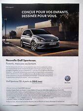 PUBLICITE-ADVERTISING :  VOLKSWAGEN Golf Sportsvan  2014 Voitures