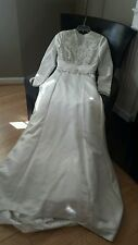 Demetrios White Bridal Dress sz 8 Custom Made Long Sleeves Modest