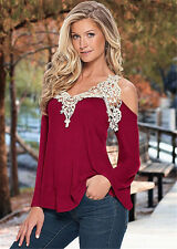 Summer Womens Loose Casual Long Sleeve Sexy Lace T-Shirt Blouse Ladies Tops 6-22