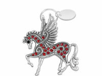 Custom Engraved / personalised keyring & gift pouch - Sparkly Pegasus - BR286red