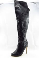 June Ambrose Domoni Black Leather Over Knee Boots Women Size 9