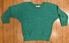 Loft Ann Taylor Green Batwing Sweater Linen Slub Knit Size S