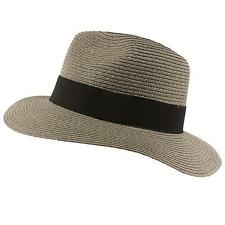 Men's Summer Straw Vented Panama Safari Cowboy Fedora Sun Hat Gray LXL 58cm