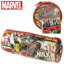 New Marvel Comic Covers Tube Zipped Pencil Case Iron Man Spiderman Official