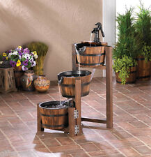 country wood Whiskey Wine Barrel Outdoor Patio pond plant water Fountain screen