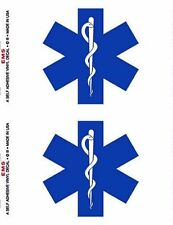 EMS Star of Life Decal Set of TWO 3-1/2 x 5 Made in USA